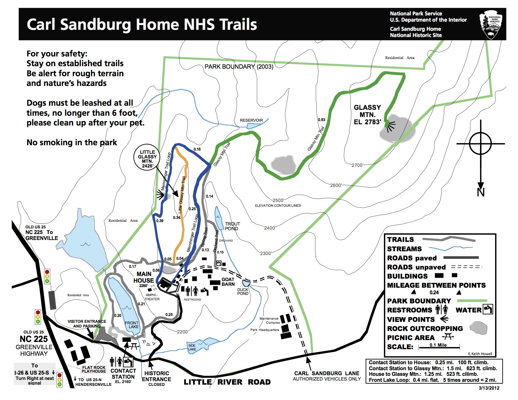 Carl Sandburg Home trail map