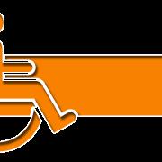 Orange handicap symbol with arrow