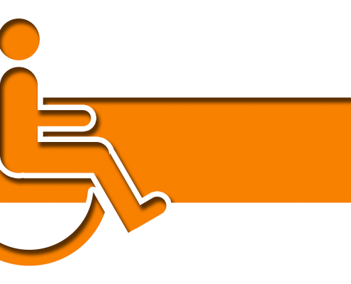 Orange handicap symbol with arrow
